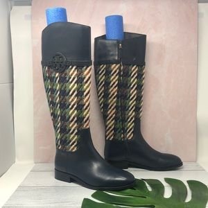 Tory Burch Navy and Tweed Miller Riding Boots 8.5M